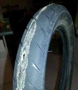 The worn tyre that should have been changed 2 weeks earlier!