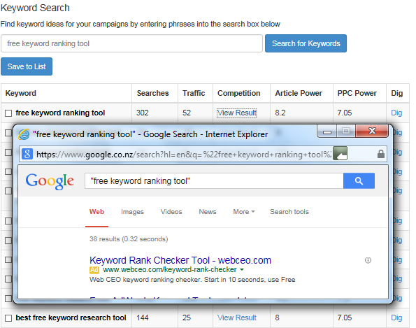 'Free Keyword Ranking Tool' Competition Websites Results